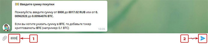 Купить биткоин в Телеграм 9
