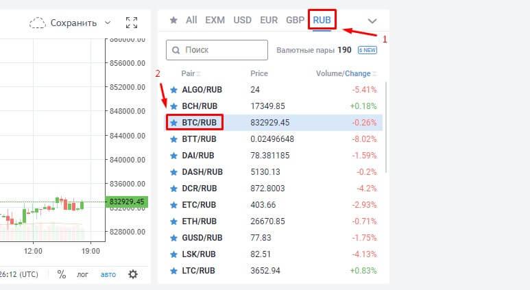 Направление обмена для покупки биткоина за рубли на бирже Exmo