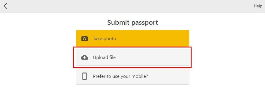 Загрузка файла скана паспорта на бирже криптовалют Binance