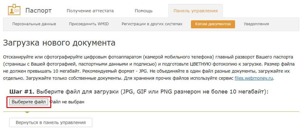Выбор файла скана паспорта на Вебмани