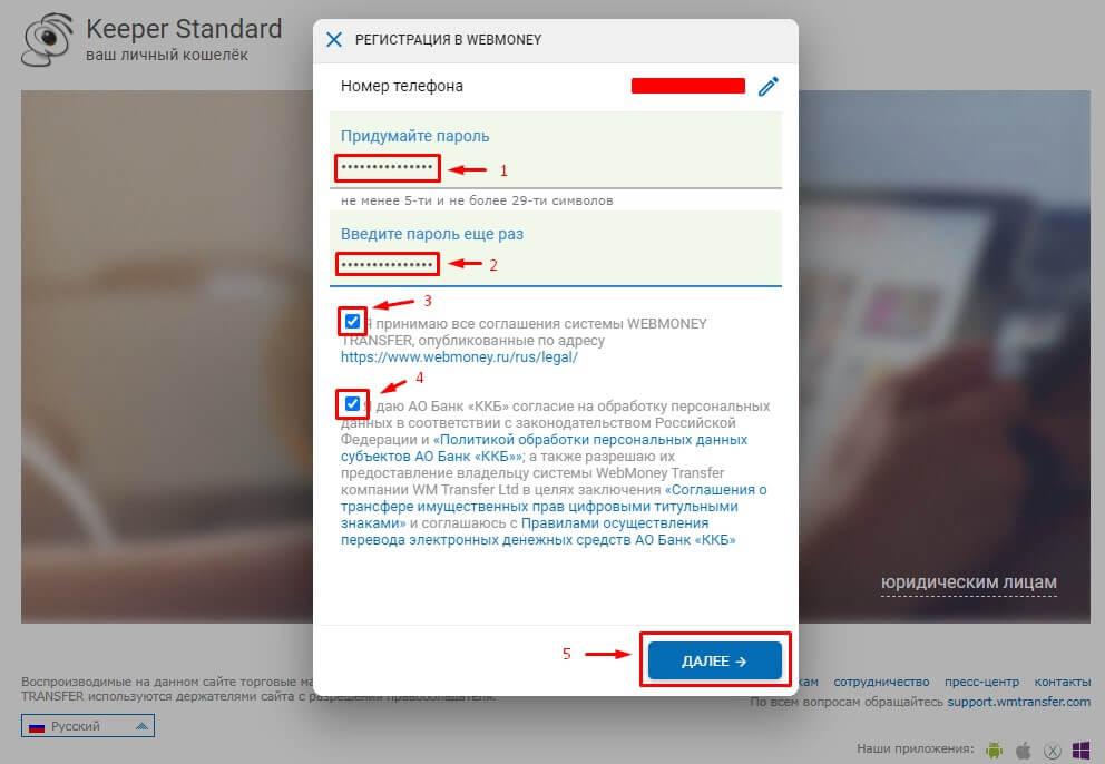 Установка пароля и имени аккаунта на Вебмани